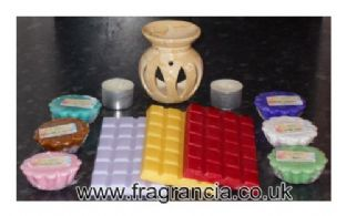 Gift Set / Starter Kit. Includes Small Marbled Flame Orange Oil Burner, Wax Melts, Wax Tarts, and Tealights
